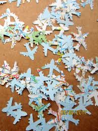 1200 tiny 1 2 planes map airplane confetti travel theme