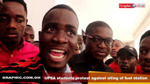 upsa students protest siting of fuel station behind youtube