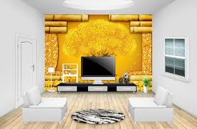Livingroom Restaurant Aliexpress Com Buy Rich Goldern Tree Fortune Diy 3d Wallpaper