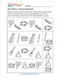 abc patterns musical instruments theme patterns worksheets