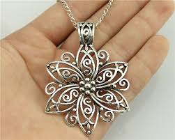 antique silver necklace pendant images Wysiwyg fashion simple antique silver color 66 47mm big flower jpg