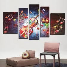 Guitar Home Decor 5 Pieces Frameless Guitar Music Shape Canvas Printing Wall Art