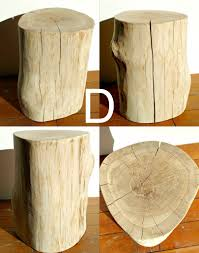 Log Side Table Oak Log Side Table
