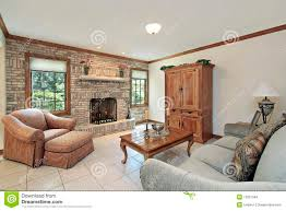 family room with stone fireplace stock images image 13351504