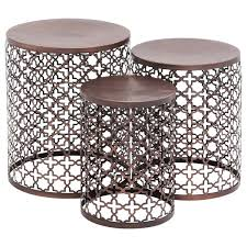 Quatrefoil Side Table Metal Bronze Quatrefoil Set Of 3 Accent Side Tables Free