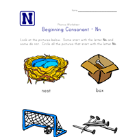 beginning consonants letter n worksheet all kids network