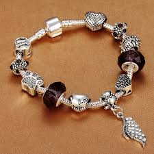 bracelet with hearts images Angel 39 s wing series antique silver women 39 s charm bracelet with jpeg