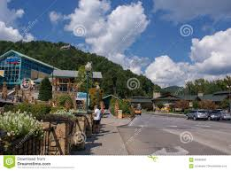 downtown of the small town of gatlinburg and smoky mountains