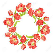 Tulip Wreath Beautiful Red Tulips Wreath Royalty Free Cliparts Vectors And