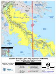 louisiana elevation map hurricane surge inundation and advisory base flood