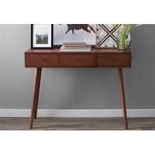 mid century console table mid century modern console sofa tables you ll love wayfair