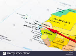 africa map gambia arrow pointing the gambia on the map of africa continent stock