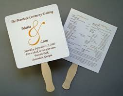 wedding program on a fan this program template but i d use colored paper or a
