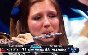 Flute Player Meme - crying villanova piccolo player gives new meaning to march madness