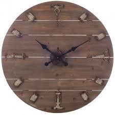 Grande Horloge Murale Carrée En Bois Vintage Achat Murale Grand Diamètre D80cm Style Vintage En Bois Et Métal Décor