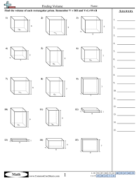 finding volume of rectangular prisms worksheets worksheets