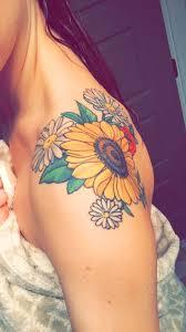 sunflower shoulder tattoo the hive tattoo portland sunflower