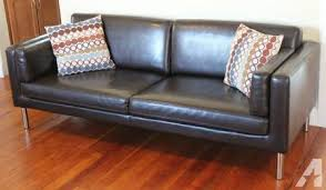 ikea leather sofa ikea sater dark brown leather sofa couch 77 5 long for sale in