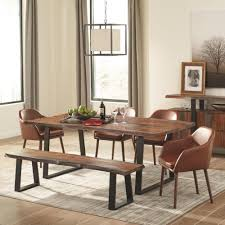 scott living jamestown rustic dining room set with bench coaster