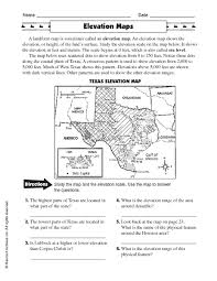 elevation maps 3rd 5th grade worksheet lesson planet