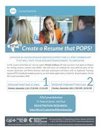 The Resume Writer Create A Resume That Pops 2 Part Workshop September 11 Resume