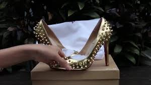 christian louboutin gold spike and real leather high heel from