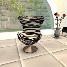 second life marketplace egg chair zebra