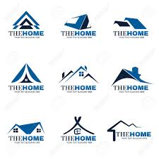blue and gray home logo set vector design royalty free cliparts