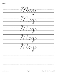 12 free cursive handwriting worksheets months of the year
