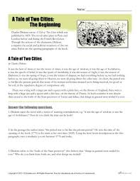 a tale of two cities reading comprehension worksheet