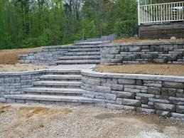 terraced retaining walls terraced ashlar block wall