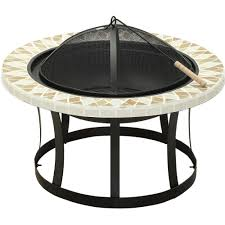 Cast Iron Firepits by Fire Sense Alpina 30 In Round Steel Fire Pit With Slate Top 62240