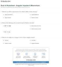 quiz worksheet angular impulse momentum study com