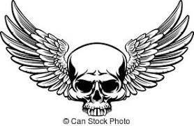 winged skull set of black skulls with wings vectors search