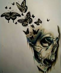 immagine di skull butterfly and drawing skulls
