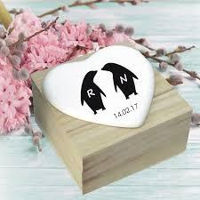 personalised wedding gifts penguin design ceramic heart wooden box personalised wedding