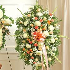 Flower Delivery Nyc Sympathy Standing Spray Peach Orange White Flower Delivery Nyc