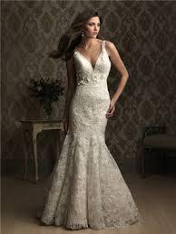 mermaid v neck low back lace wedding dress with flower belt