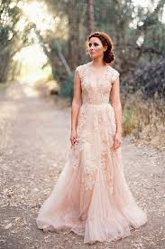 vintage wedding dresses with sleeves blush lace vintage wedding dress with plunging v neck and cap