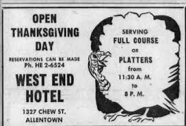 file 1955 west end hotel thanksgiving dinner 23 nov mc