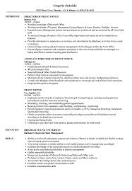 front office sle layout front office resume sles velvet jobs