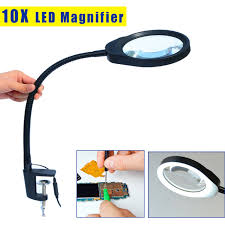 10x magnifying glass with led light for reading repairing and inspection desktop magnifier 10x
