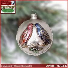 christmas tree ornaments ball with love birds glass figure glass