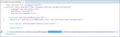 android package name adding the package name in androidmanifest xml robotium