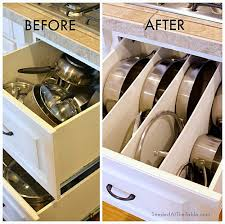 Tips For Organizing Pots And Pans Organizing Kitchen Storage - Kitchen cabinet drawer dividers