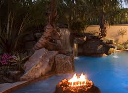 the fire pit lagoon pool with spa grotto waterfall and fire pit lucas lagoons