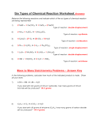 Chemical Equations And Reactions Worksheet Six Types Of Chemical Reaction Worksheet Answers Worksheets For
