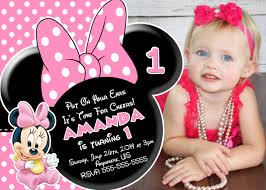 Baby 1st Birthday Invitation Card Minnie Mouse 1st Birthday Invitations Kawaiitheo Com
