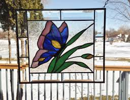 stained glass butterfly l beveled stained glass panel window butterfly blue stained glass