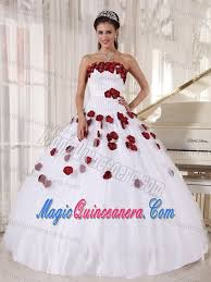 sweet fifteen dresses white strapless sweet 15 dresses with made flowers in bath